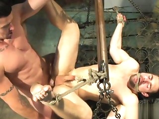 deepthroat BDSM submissive fucked in tight irritant by dom gay