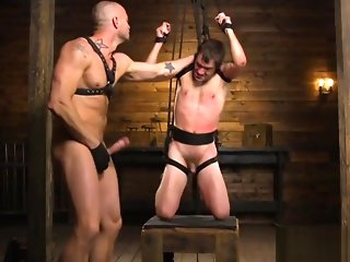 deepthroat BDSM sub mouthfucked by muscular inside gay