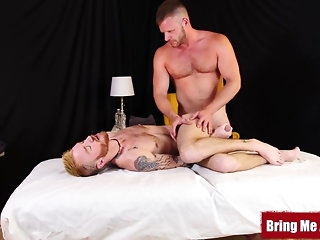 bareback (gay) Inked perforator twink ass barebacked by robust masseur daddy twink (gay)